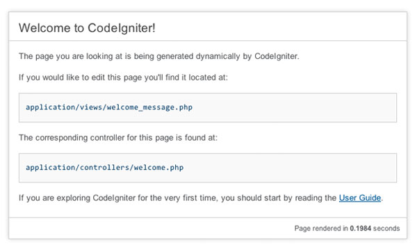 CodeIgniter Default Welcome Page